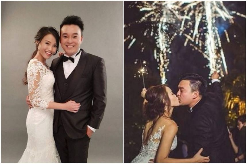 Former Channel 8 actor Joshua Ang, 29, tied the knot with air stewardess Shannon Low, 27, over the weekend at a beach wedding in Shangri-La's Rasa Sentosa Resort & Spa.