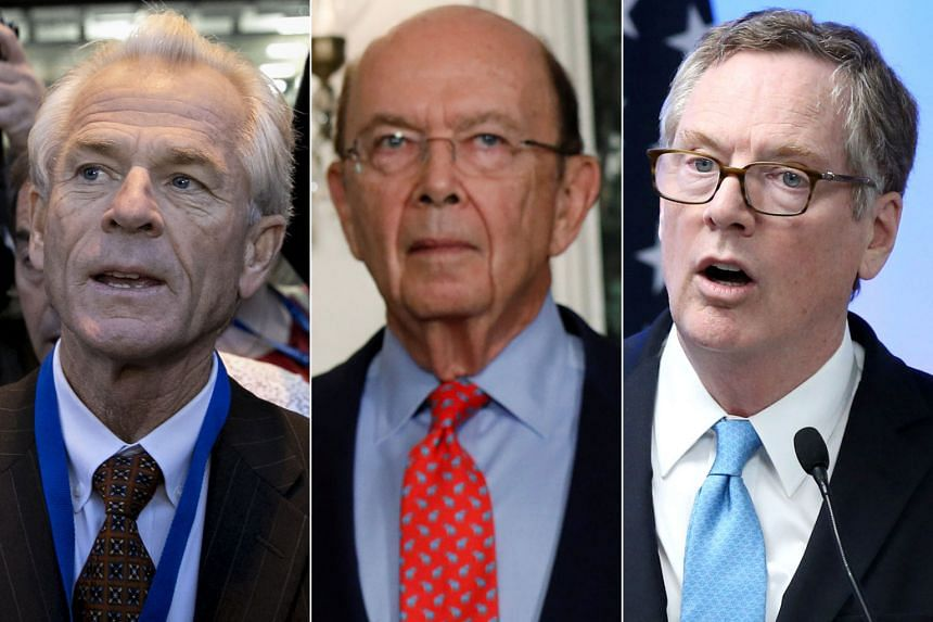 (From top) Dr Peter Navarro, Mr Wilbur Ross and Mr Robert Lighthizer will be left running the US trade policy, after the resignation of top economic adviser Gary Cohn (right).
