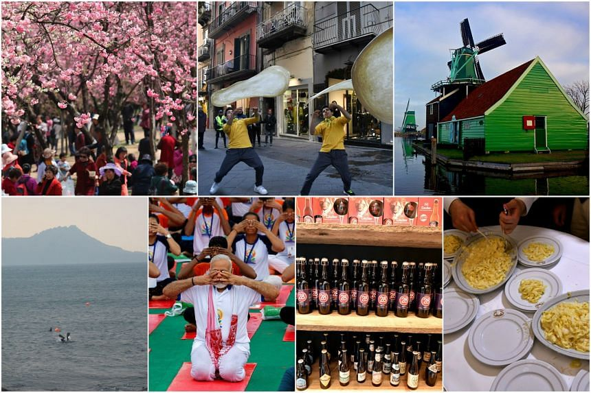 Examples of intangible cultural heritage include (clockwise from top left) the 24 solar terms in China, 'pizzaiuolo' in Italy, the windmills of the Netherlands, the Mediterranean diet, beer in Belgium, yoga in India, and the Jeju Haenyeo in South Kor