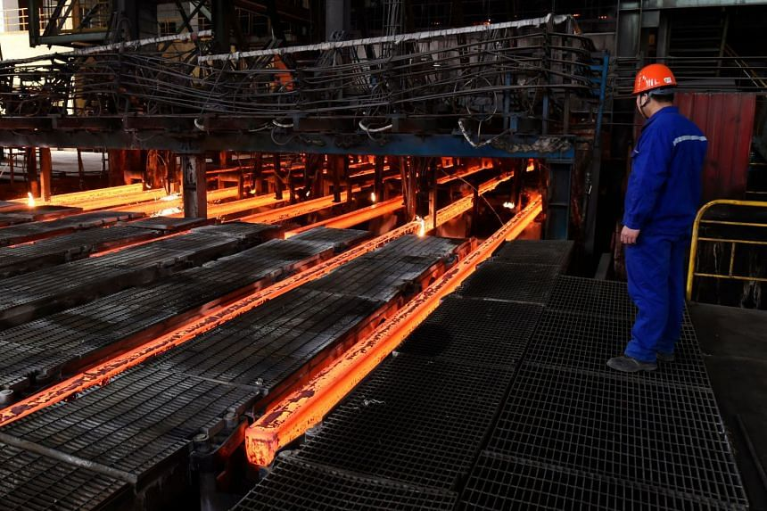 An employee working at a steel plant in Zouping, China, on March 5, 2018.