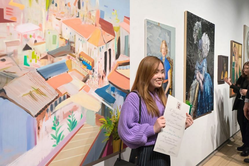 Chloe Ong, 23, won the Young Artist Award on March 5, 2018, at the prestigious Lynn Painter-Stainers Prize for her painting Roof Terrace.