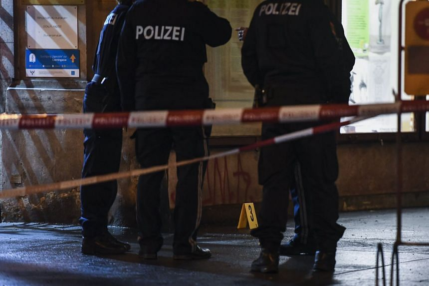 Police search the area at the Praterstrasse in Vienna, Austria, March 7, 2018.