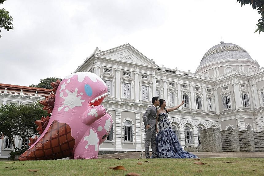 An inflatable pink dinosaur mascot called Dino will be popping up at national monuments as part of a National Heritage Board (NHB) effort to raise awareness of them. Last weekend, Dino was at the National Museum (above). The Dino Loves Monuments camp
