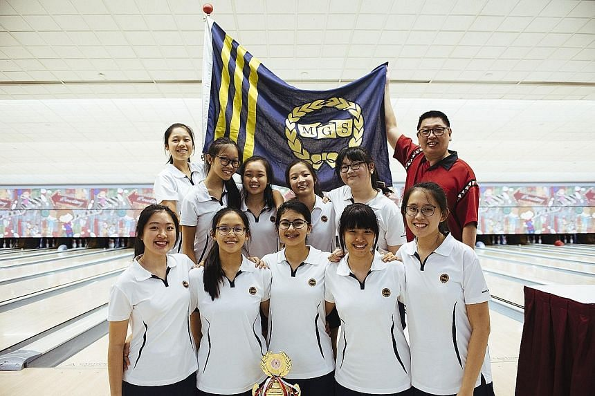 Methodist Girls' School after clinching the Schools Nationals girls' B division championsip yesterday. They beat the Singapore Sports School with a lower team score.
