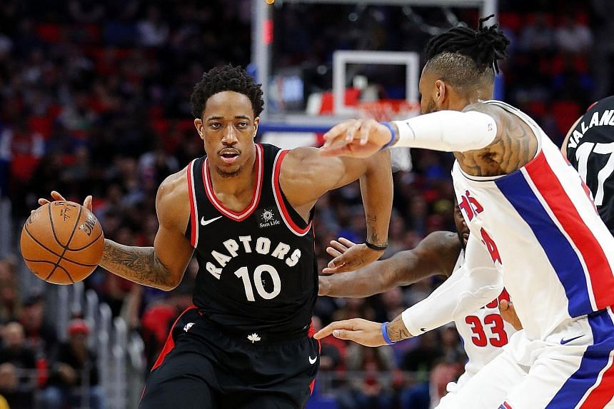 Guard DeMar DeRozan, defended by Detroit Pistons forward Eric Moreland, leading the charge with 42 points, six assists and four rebounds in the Toronto Raptors' 121-119 road victory.