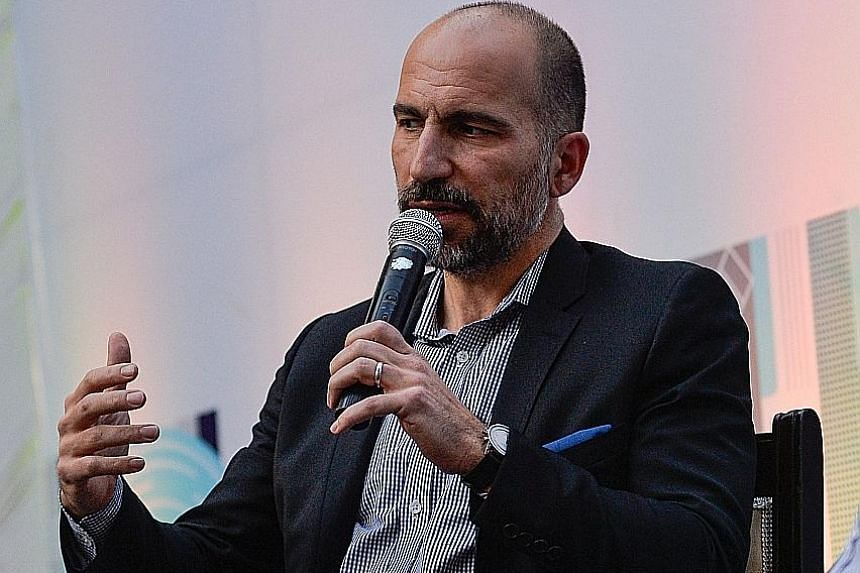 Mr Dara Khosrowshahi speaking at a conference in New Delhi last month. The Uber CEO should have pushed back more firmly against 15 per cent owner SoftBank's advice to concentrate on key markets in the US, Europe, Latin America and Australia, says the