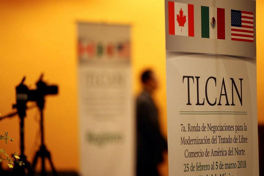 The Nafta banner is pictured inside a hotel where the seventh round of Nafta talks involving the United States, Mexico and Canada takes place, in Mexico City, on March 2, 2018.