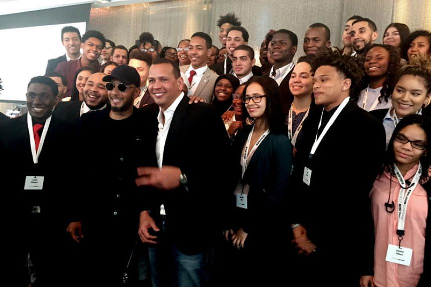 Baseball legend Alex A-Rod Rodriguez, musician Swizz Beatz and students from high schools and colleges in the Bronx participate in a real estate literacy program, Project Destined, on March 3, 2018 at Viacom in Times Square, New York City.