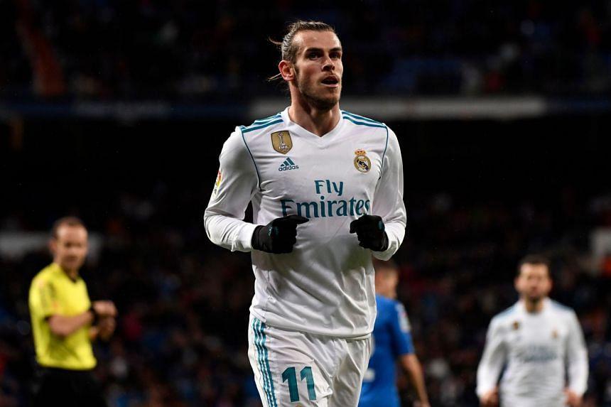 Bale celebrates a goal against Getafe on March 3, 2018.