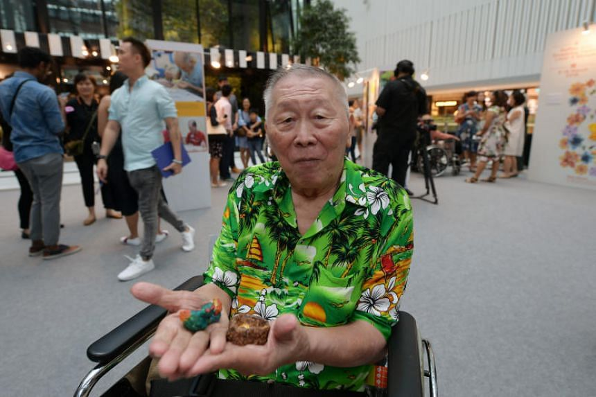 All Saints Home (Yishun Centre) resident David Yew, 80, with his clay sculptures.