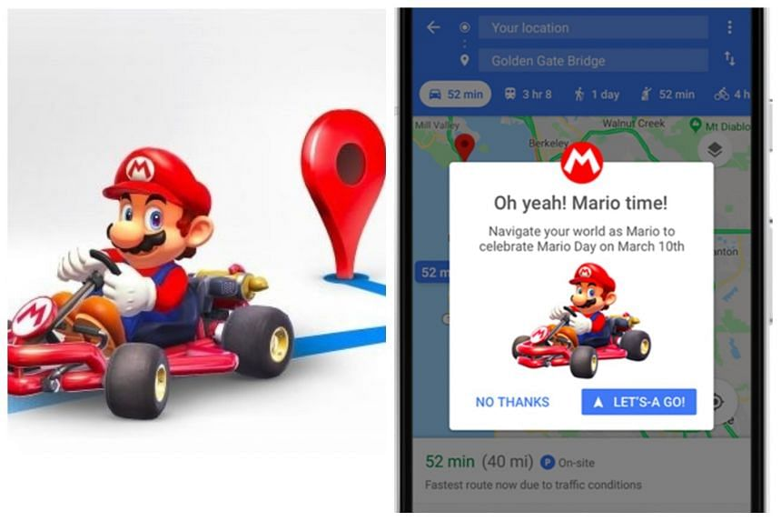 On March 10, Google Maps users will be able to navigate Singapore's roads as Mario in his go-kart.
