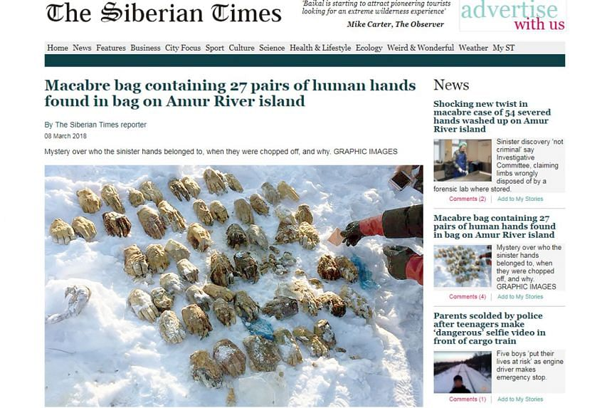 Just a single hand was spotted at first, but the find led to the discovery of 54 hands in total that were placed in a bag.