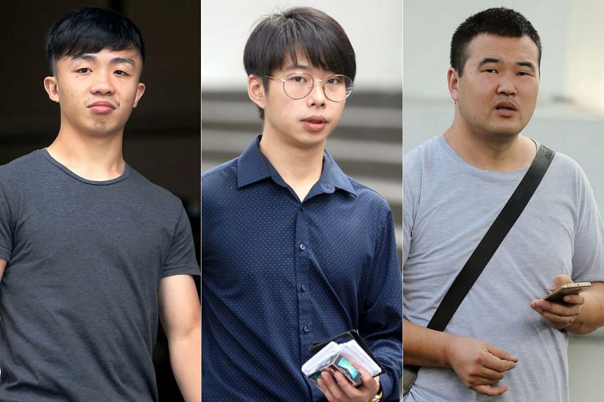 (From left) Ivyn Toh and Liu Jiaming were charged with causing hurt by riding their e-scooters in a negligent manner, while  Qin Jian on Friday was fined $2,500 after he pleaded guilty.