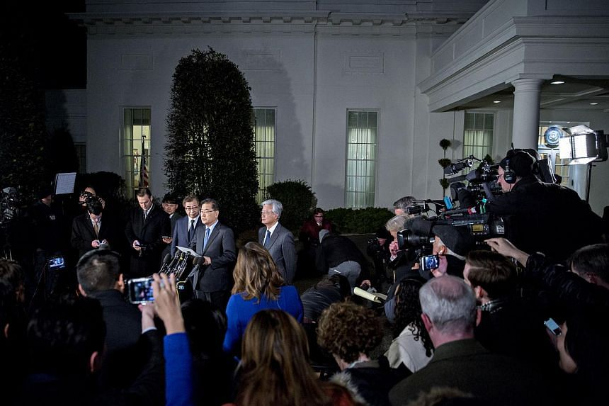 Chung Eui Yong, chief of the South Korean National Security Council, speaks to members of the media outside the White House.
