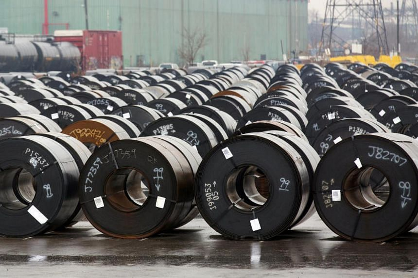 Stored rolls of steel outside the Arcelor Mittal Dofasco plant in Ontario, Canada on March 7, 2018. Canada hailed news it would not immediately be subject to US tariffs on steel and aluminum.