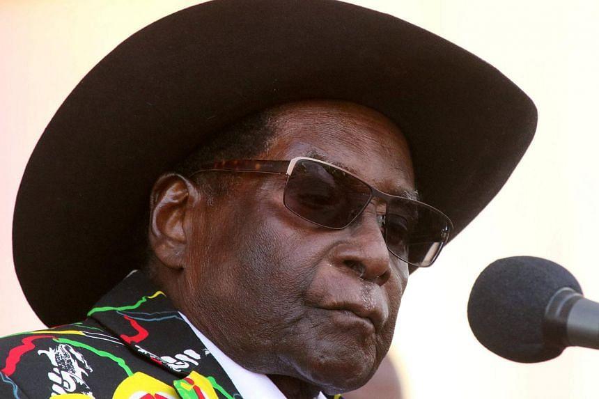 A file photo of former president Robert Mugabe addressing supporters of his ruling ZANU-PF party in Chinhoyi, Zimbabwe, on July 29, 2017.