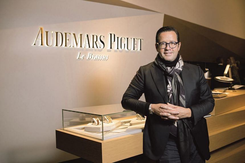 Audemars Piguet chief executive Francois-Henry Bennahmias (above) and the luxury watchmaker's Ladies Royal Oak Concept Flying Tourbillon, its first Royal Oak concept watch for women.
