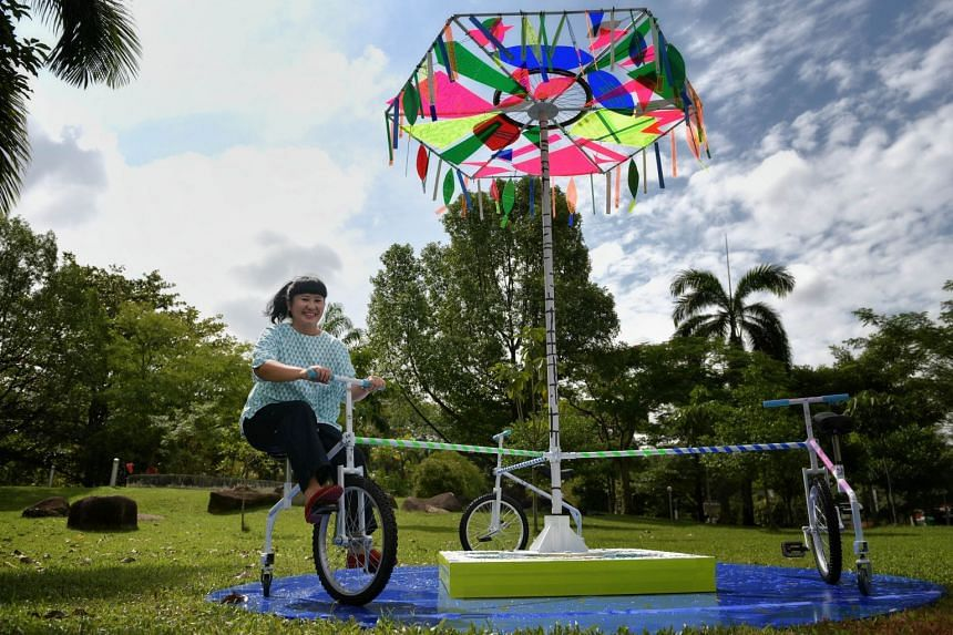New temporary art installations at Bishan-Ang Mo Kio Park include Ahoy-hoy! by Lai Wei Min and Watching The World Go Round, a cycle-propelled carousel by Angie Seah (above).
