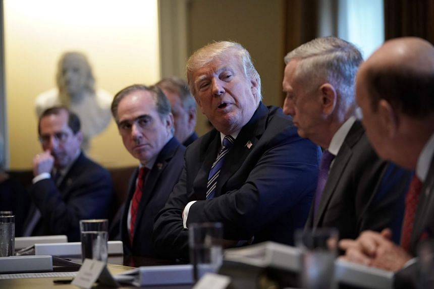 Trump speaking during a Cabinet meeting at the White House on March 8, 2018.