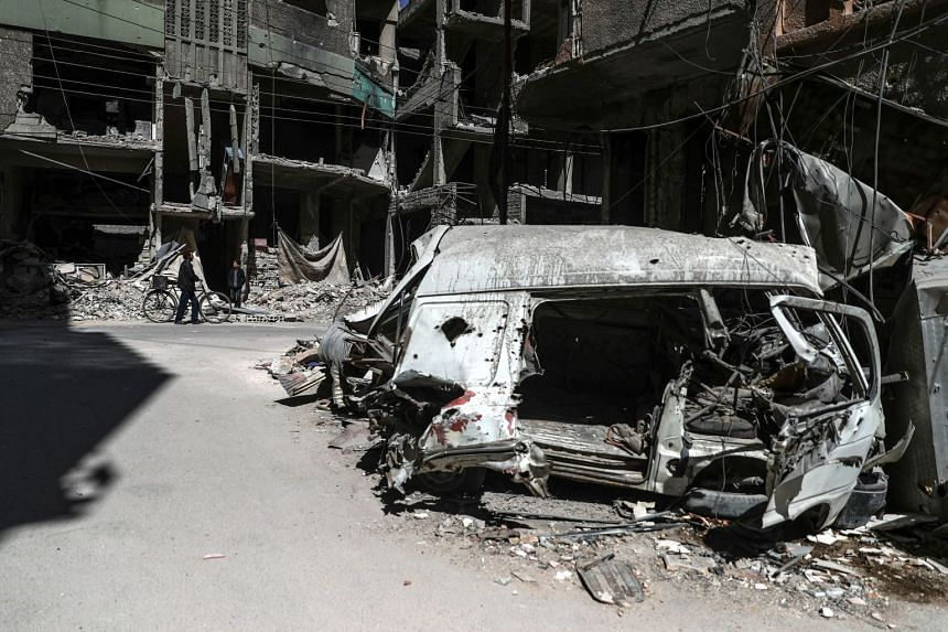 A destroyed street in rebel-held Douma in Syria, on March 9, 2018.