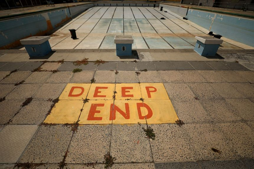 The Newlands swimming pool sits empty in Cape Town, South Africa, on Feb 9, 2018.