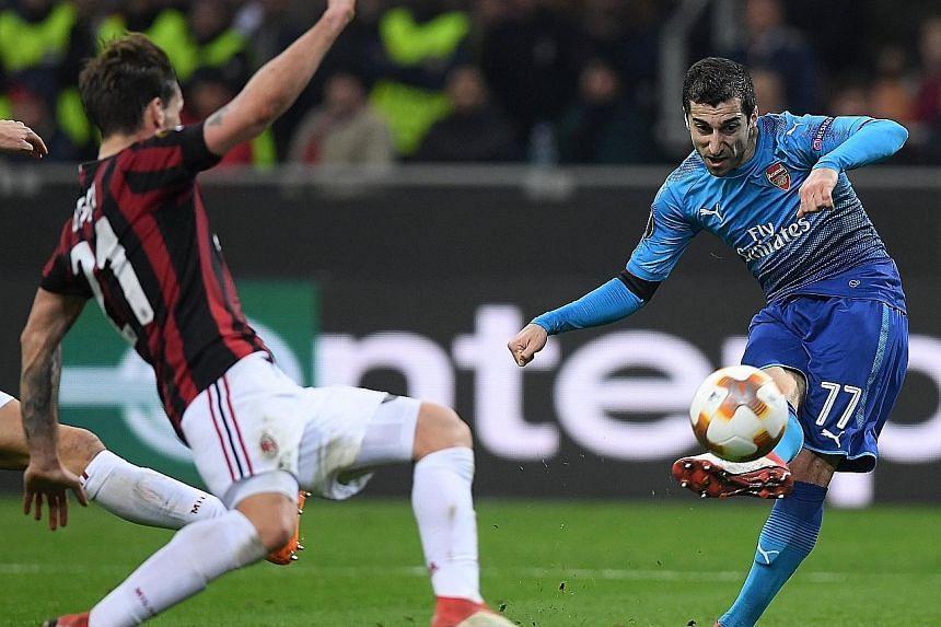 Arsenal midfielder Henrikh Mkhitaryan making his presence felt against AC Milan. The Armenian's opener was his first goal for the Gunners.