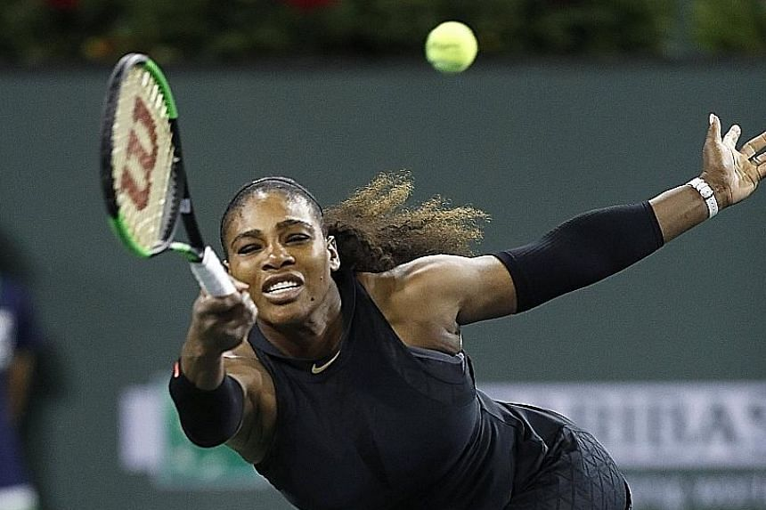 Serena Williams on the way to beating Kazakhstan's Zarina Diyas 7-5, 6-3 at the BNP Paribas Open at Indian Wells, California, on Thursday. It is the first time the former world No. 1 has been unseeded at a tournament since 2011.
