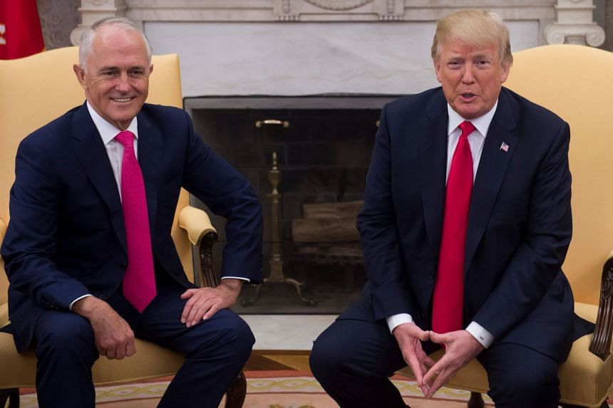 US President Donald Trump (right) speaks with Australian Prime Minister Malcolm Turnbull in the White House in Washington, DC, on Feb 23, 2018.