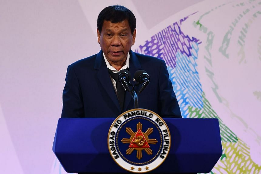 Philippine President Rodrigo Duterte addressing a press conference after the closing ceremony of the 31st Association of Southeast Asian Nations Summit in Manila on  Nov 14, 2017.