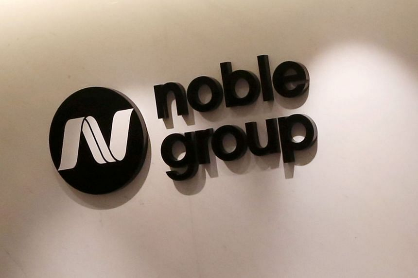 The company logo of Noble Group seen at its headquarters in Hong Kong.