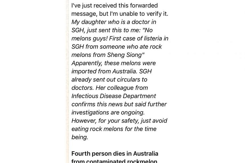 """A Whatsapp message has been circulating since Friday (March 9) claiming that someone who ate rock melons from Sheng Siong ended up as the """"first case of listeria in SGH"""". The Health Ministry said that it was notified by the Singapore General Hospital"""