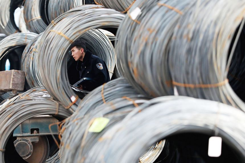 Steel products stored at a market in Shenyang, China's Liaoning province. President Donald Trump's plan to impose tariffs on aluminium and steel imports has been condemned by the World Trade Organisation and America's allies, including Canada and Sou