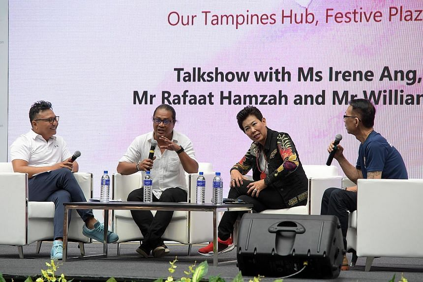 (From left) Host Ross Sarpani with artiste Rafaat Hamzah, comedian Irene Ang and counsellor William Teo at the panel discussion yesterday. The top three addictions handled by the National Addictions Management Service are for drugs, alcohol and gambl