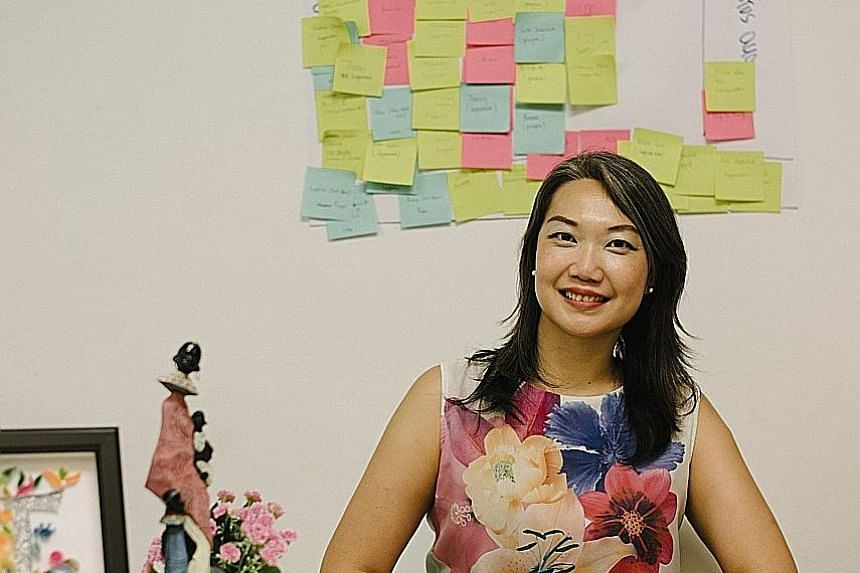 Ms Tan first started DOT as a social enterprise, helping underprivileged women in India by paying them to make handicrafts (left), which she would sell in Singapore. She had noticed that while there were many NGOs giving women training, there were no