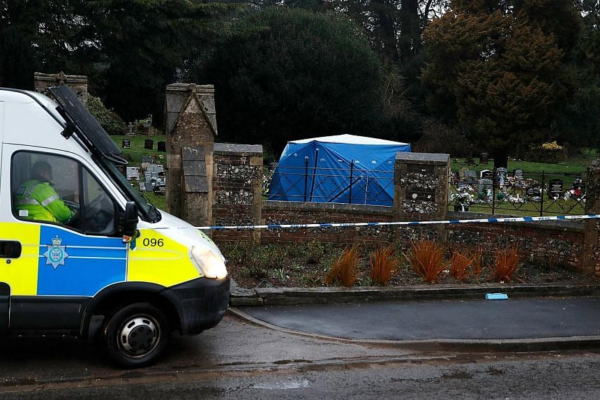 The authorities set up a tent around the grave of Mr Alexander Skripal, son of Russian former spy Sergei Skripal, at the London Road Cemetery in Salisbury last Friday. The authorities said they had not exhumed any bodies, but the forensic activities