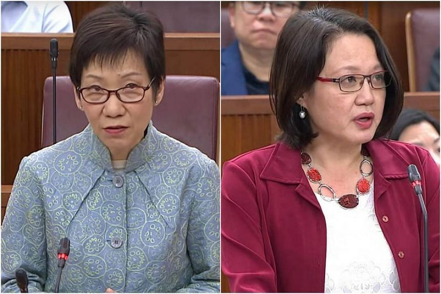 """Leader of the House Grace Fu (left) said she will put Workers' Party chairman Sylvia Lim on notice for her conduct in Parliament, which had fallen short of the """"honour and integrity expected of all members""""."""