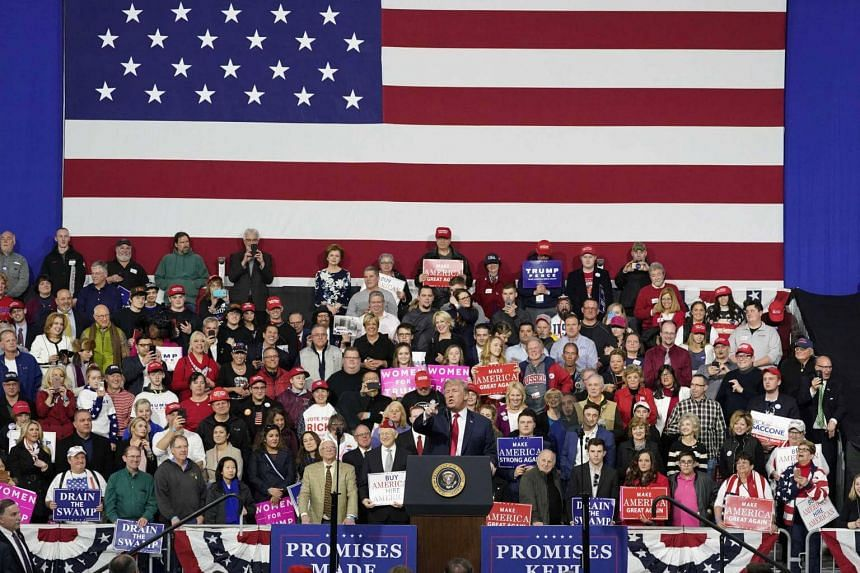 US President Donald Trump speaks in support of Republican congressional candidate Rick Sacconne during a Make America Great Again rally in Moon Township, Pennsylvania, on March 10, 2018.