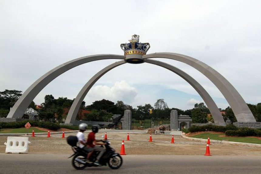 The main entrance of Istana Bukit Serene, the official residence of the Sultan of Johor, in Johor Baru.