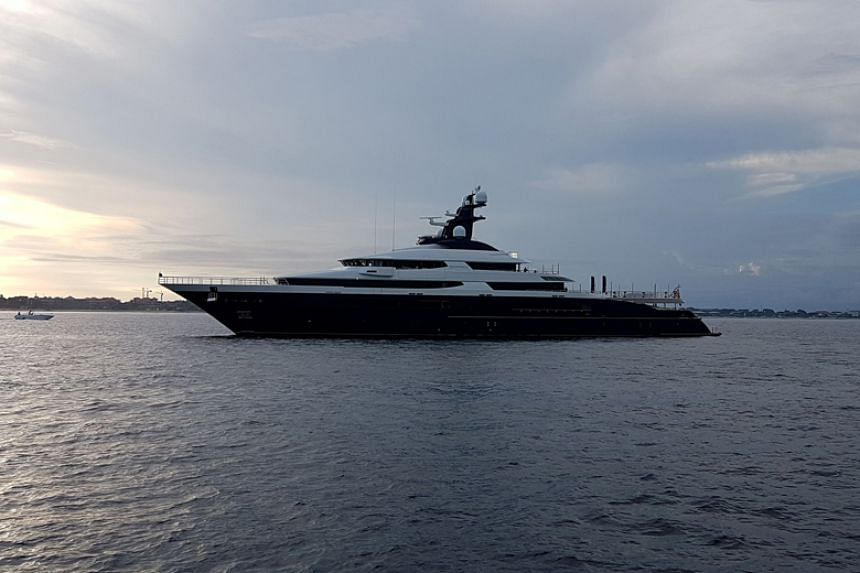 A seized luxury yacht sought by the US Department of Justice as part of a multi-billion dollar corruption investigation involving 1Malaysia Development Berhad is seen in Bali on Feb 28, 2018.
