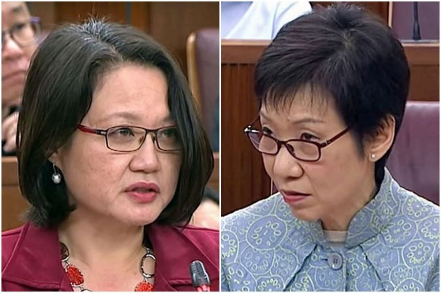 """WP chairman Sylvia Lim (left) had voiced her suspicion that the Government had intended to raise the GST immediately but that it backtracked after negative public reaction. While later saying her suspicion """"may have been wrong"""", she refused to withdr"""