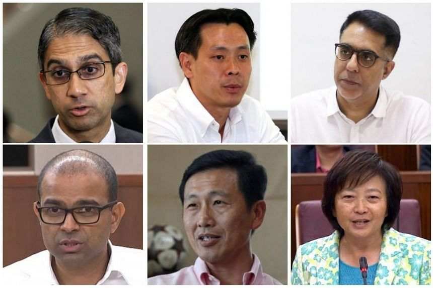 (clockwise from top left) Non-Constituency MP Leon Perera, MP Louis Ng (Nee Soon GRC), MP Pritam Singh (Aljunied GRC), MP Lee Bee Wah (Nee Soon GRC), Minister for Education (Higher Education and Skills) Ong Ye Kung, Senior Minister of State for Educa