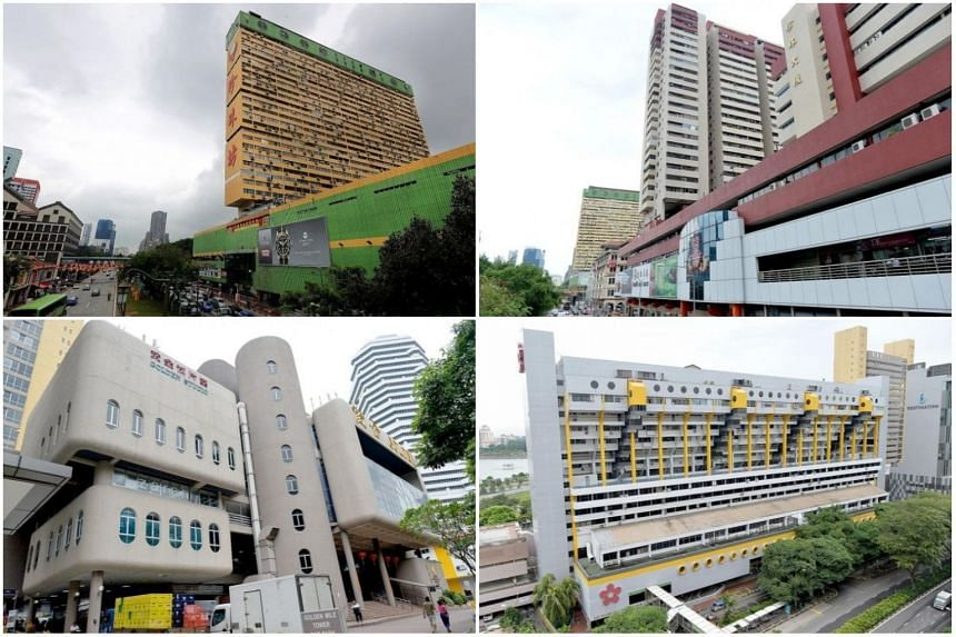 (Clockwise from top left) People's Park Complex, People's Park Centre, Golden Mile Complex and Golden Mile Tower.