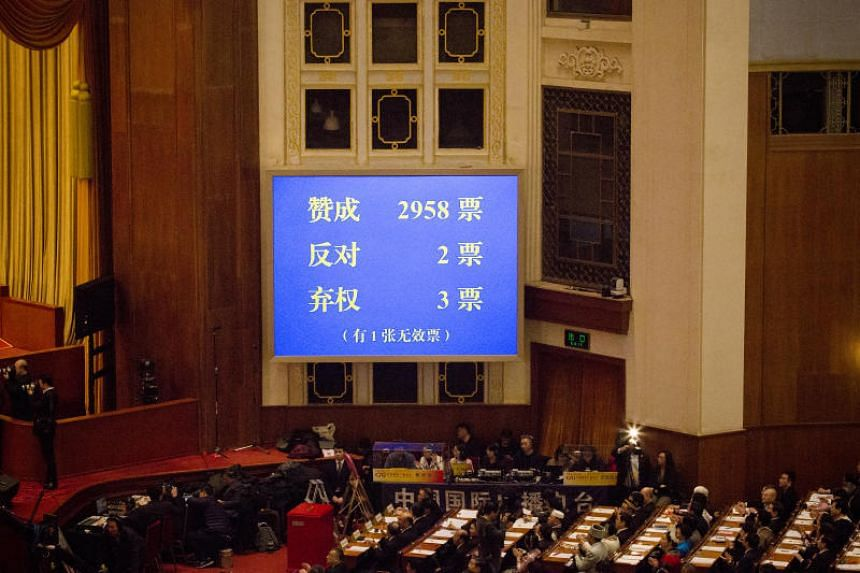A screen showing the result of a vote to repeal presidential term limits is displayed at a session at the first session of the 13th National People's Congress (NPC) at the Great Hall of the People in Beijing, China, on March 11, 2018.