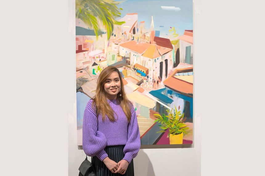 Roof Terrace, a painting by Chloe Ong, was inspired by her travels to Moroccan cities such as Marrakesh and Fez.