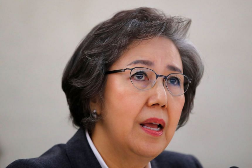 Special Rapporteur on the situation of human rights in Myanmar, Ms Yanghee Lee, gives her report to the Human Rights Council at the United Nations in Geneva, on March 12, 2018.