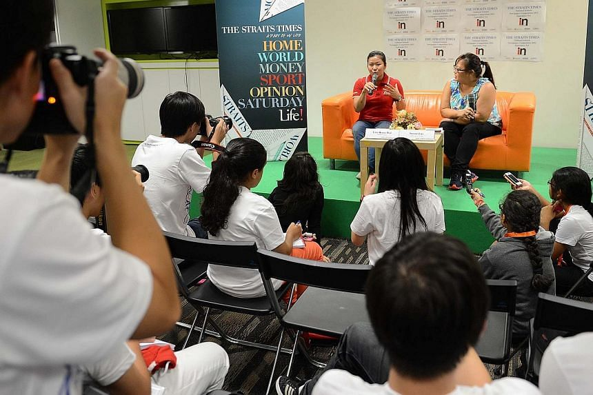 Gymnast Lim Heem Wei sharing her experience at the London Olympics with students at the National Schools Newspaper Competition in 2012. The event, now called the National Youth Media Competition, aims to promote media literacy and train aspiring jour