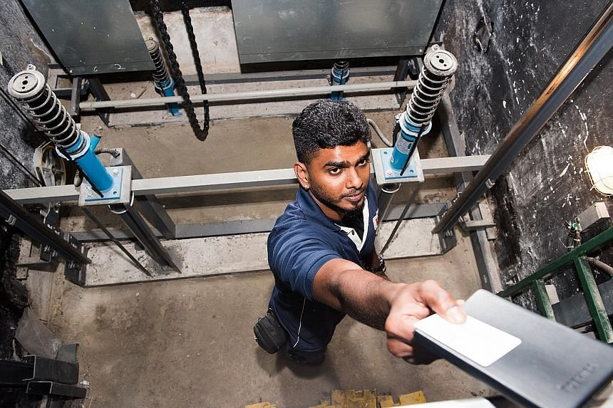 Chevalier lift technician Vinod Balakrishnan was once directed to the wrong lift and wasted an hour. Lift technicians are the only ones qualified to enter the lift pit and have to deal with whatever dead or alive animal they find there.