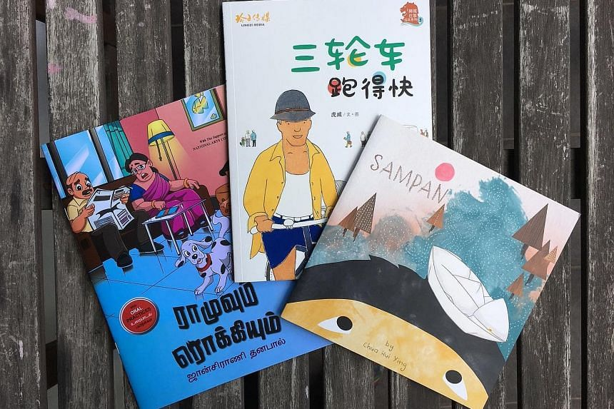 (From far left) Ramu And Rocky by Jensrani Thangavel; Go, Trishaw, Go by Francis Wong; and Sampan by Chua Hui Ying are on the list of Singlit book gifts to schools in Singapore.