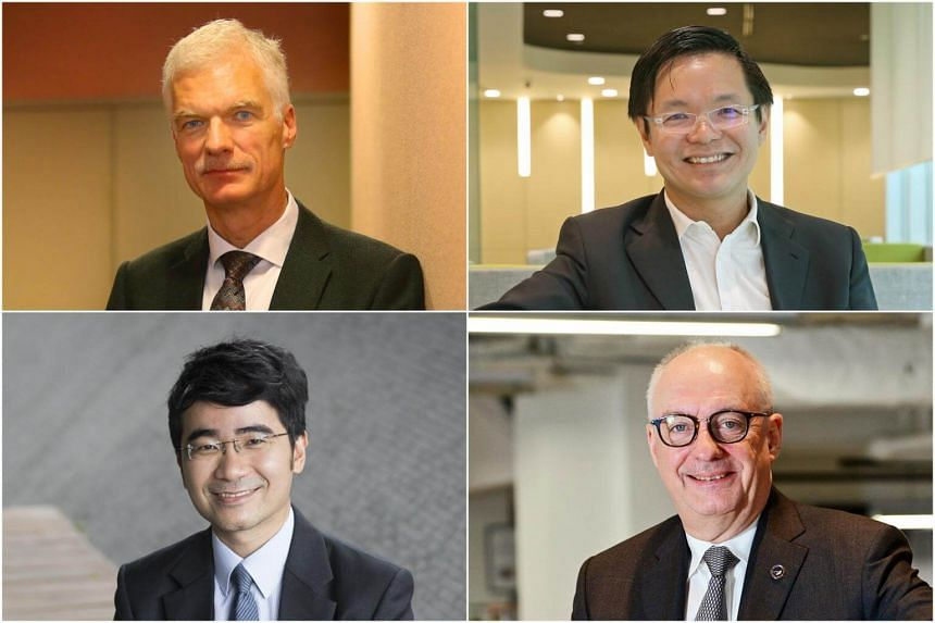 (Clockwise from top left) Director for education and skills at the Organisation for Economic Cooperation and Development, Mr Andreas Schleicher, SkillsFuture Singapore chief executive Ng Cher Pong, SMU president Arnoud De Meyer and SMU's law dean Goh
