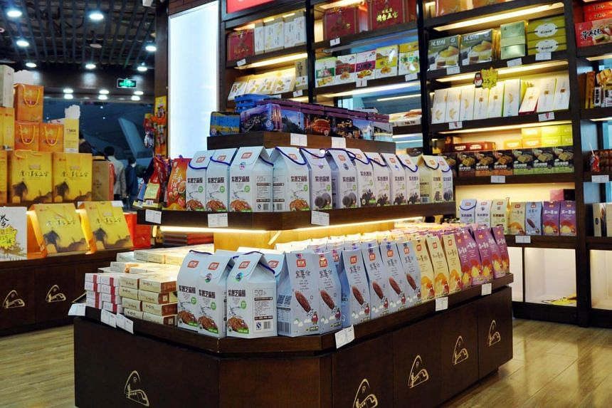 A file photo of China Food Star's sweet potato snacks in a convenience store at Xiamen Railway Station in Fujian, China.